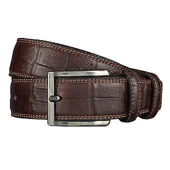 OTTO KERN belts men's belts leather belt reptile look dark brown 4480