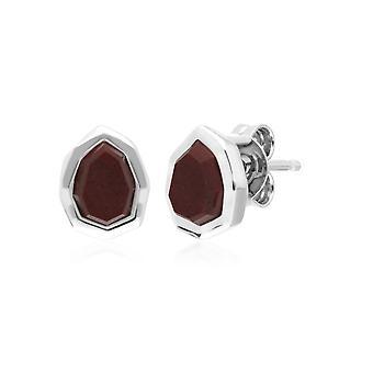 Unregelmäßige B Edelstein rot Jaspis Ohrstecker in 925 Sterling Silber 271E021302925