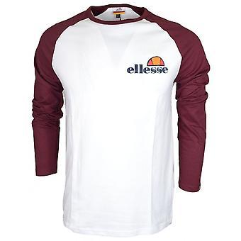 ELLESSE Thero długi rękaw światłowodowe biały/zinfandel bawełniany T-shirt