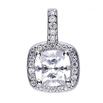 Diamonfire P4617 Square Solitaire And Pave Pendant