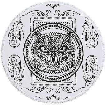 Black and White Owl Stamp Beach Towel