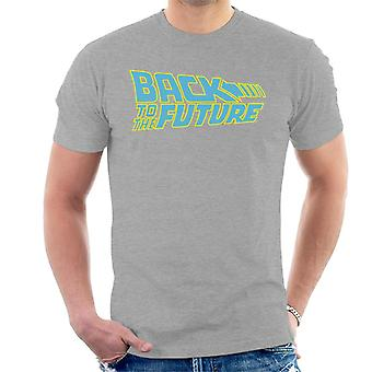 Back To The Future Blue & Neon Logo Men's T-Shirt