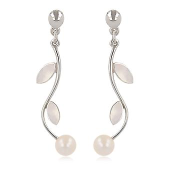 ADEN 925 Sterling Silver White Mother-of-pearl and White Pearl Earrings (id 4234)