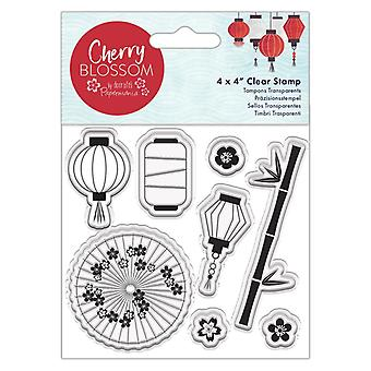 Papermania Cherry Blossom 4x4 Inch Clear Stamp Lanterns