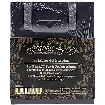 الرسم 45 ATC العلامة &; ألبوم الجيب أسود
