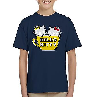 Hello Kitty And Mimmy In Yellow Teapot Kid's T-Shirt