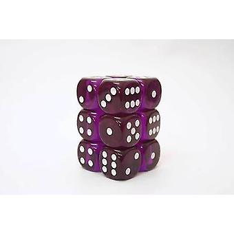 Chessex Translucent Purple/white 16mm D6 x 12