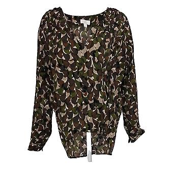 Belle by Kim Gravel Women's Top Camo Print Wrap Blouse Brown A310028
