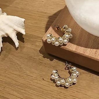 Vintage Small Gold Pearl Hoops