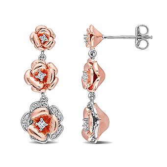 1/8 Carat (ctw) Created White Sapphire and Diamond Flower Dangle Earrings in Rose Sterling Silver