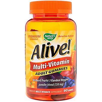 Nature's Way, Alive! Multi-Vitamin, Erwachsene Gummis, Fruchtaromen, 90 Gummies