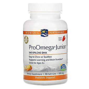 Nordic Naturals, ProOmega Junior, Fresa, 500 mg, 90 Geles Suaves