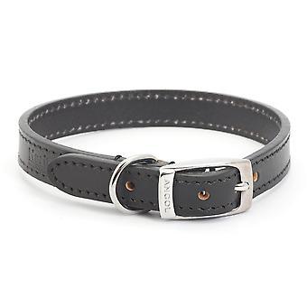 Ancol Heritage Leather Collar - Negru - Dimensiune 2 (14 inch)