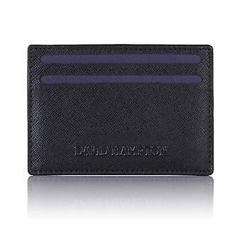 ブラック サフィアーノ レザー スリム カード ホルダー