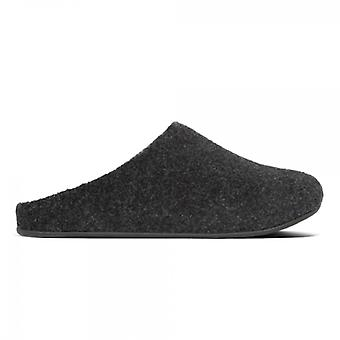 FitFlop Shove Felt Mens Mule Slippers All Black