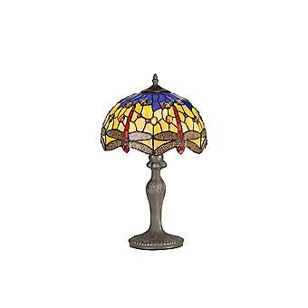 1 Light Curved Table Lamp E27 With 30cm Tiffany Shade, Blue, Orange, Crystal, Aged Antique Brass