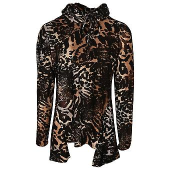 Frank Lyman Zwart & Oranje Losse Polo Nek Animal Print Lange Mouw Tuniek Top