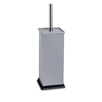Square Steel Bathroom Toilet Brush & Holder Set - Grey
