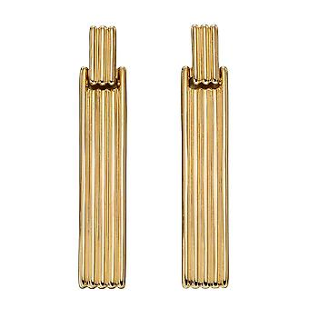عناصر الذهب 9ct عمود التسمية السوداء مستوحاة من شريط طويل الأقراط GE2348