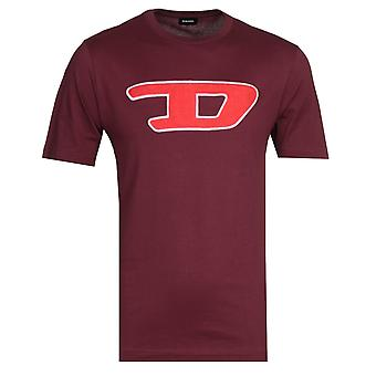 Diesel Large Logo Burgundy T-Shirt
