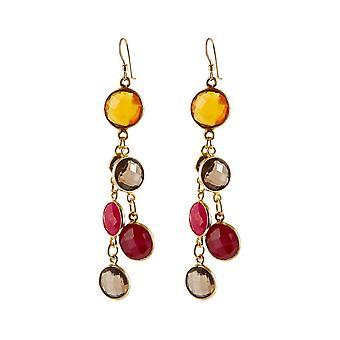 Gemshine Boucles d'oreilles CONFETTI KASKADE citroir jaune doré, quartz fumé, rubis rouges