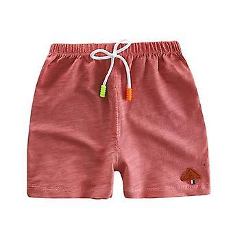 Enfant Été Casual Elastic Waist Shorts- Coton Solid Color Beach Wear Loose