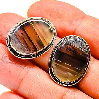 "Montana Agate Earrings 1"" (925 Sterling Silver)  - Handmade Boho Vintage Jewelry EARR407505"