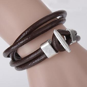 Bracelet en cuir vintage Bracelet multi-couches pour hommes Bracelet de style simple