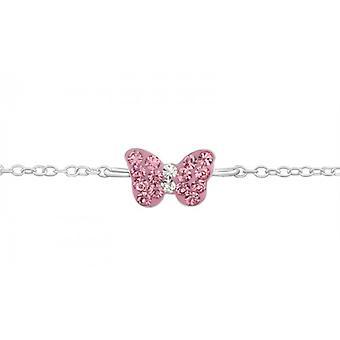 Tytöt 925 sterlinghopea ranne koru vaaleanpunainen perhonen