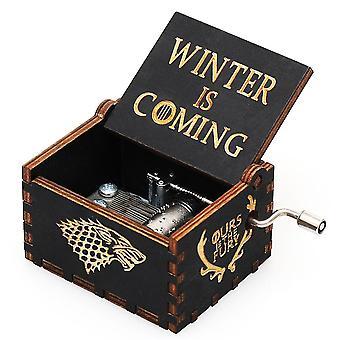 Diy houten muziekdoos met de Krukas van de Winterhand antieke gesneden doos van de Muziek