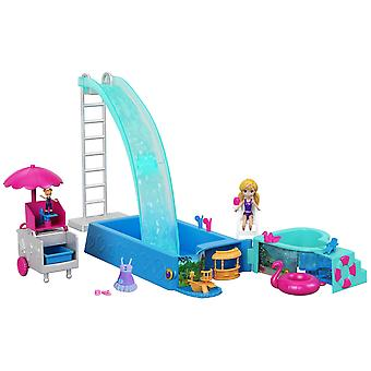 Polly pocket ftp75 splashtastic pool surprise playset with 3 inch polly doll, micro accessories, mul