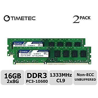Timetec hynix ic 16gb kit (2x8gb) ddr3 pc3-10600 1333mhz non ecc unbuffered 1.35v/1.5v dual rank 240