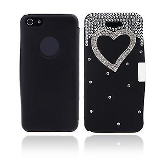 Flip Læder Bling Flower Case Cover PU Læder til iPhone 5 5s Sort