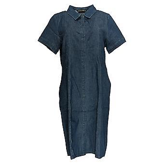 بروك شيلدز اللباس الخالدة قصيرة الأكمام قميص الدنيم الأزرق A352811