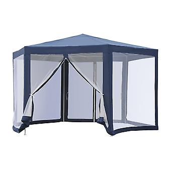 Outsunny Netting Gazebo Hexagon Tent Patio Canopy Outdoor Shelter Party Activities Shade Water Resistant (Blue)