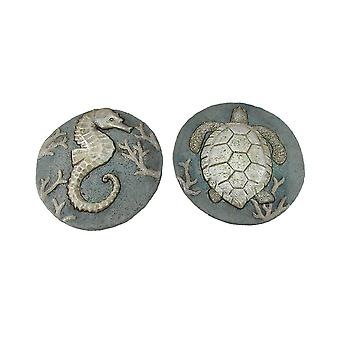 Set of 2 Seahorse and Sea Turtle Cement Garden Stepping Stones