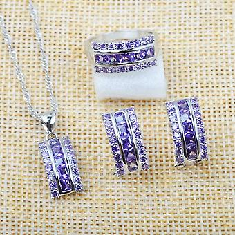 Wedding Jewelry Sets, Natural Crystal Earrings, Ring Necklace Pendant
