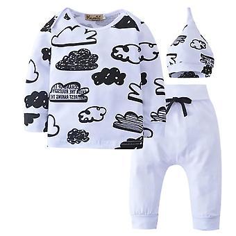 Baby nyomtatott pamut felhők hosszú ujjú póló, nadrág és sapka