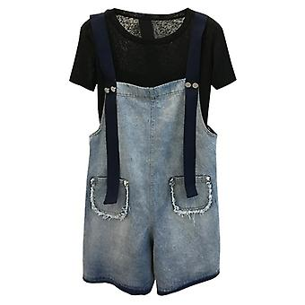 Women Denim Shorts, Overalls Female Casual Loose Slim Pockets Straps Jeans,