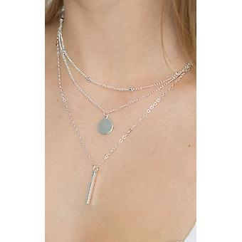 Silver Triple Layered Necklace Coin and Bar Pendant Necklace