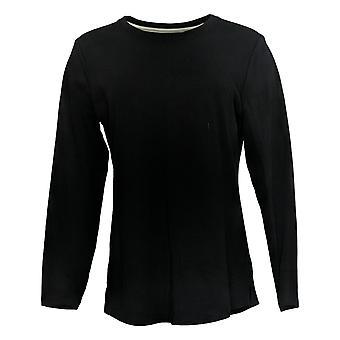 Isaac Mizrahi Live! Women's Pima Cotton Knit Top Black A372671