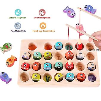 Magnetic Wooden Alphabet Fishing Counting Board Game