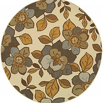 7' Round Ivory Gray Large Floral Blooms Indoor Outdoor Area Rug