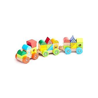 25 Adet doğal ahşap tren yapı taşları oyuncaklar