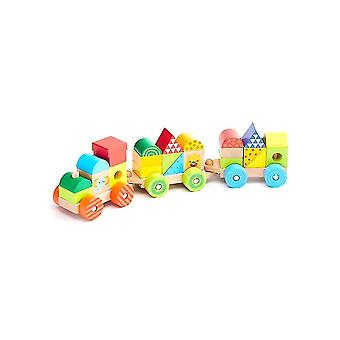 25Pcs natural wooden train building blocks toys