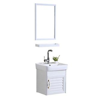 Mini Wall Mounted Basin Cabinet, Ceramic Washing Table Aluminum Cabinet
