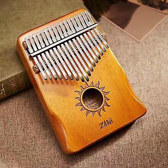 Tommelen Piano 17 Keys Portable Mahogany Body Finger Piano med Tune Hammer Instruksjon