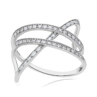 TJC Hvid Diamant Criss Cross Ring Platinbelagt Sølv 0,27ct