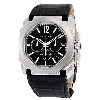 Bvlgari Octo Velocissimo Chronograph Black Lacquered Polished Dial Black Leather Men's Watch 102103