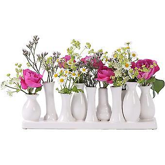 Jinfa handgefertigte kleine Keramik Deko Blumenvasen Set aus 10 Vasen in wei